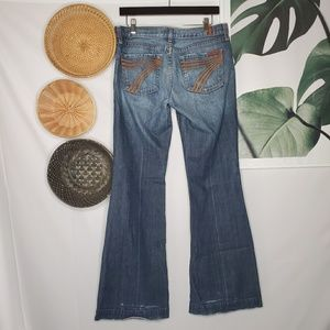 7FAM Dojos Flare Wide Leg Jeans Medium Wash Tall